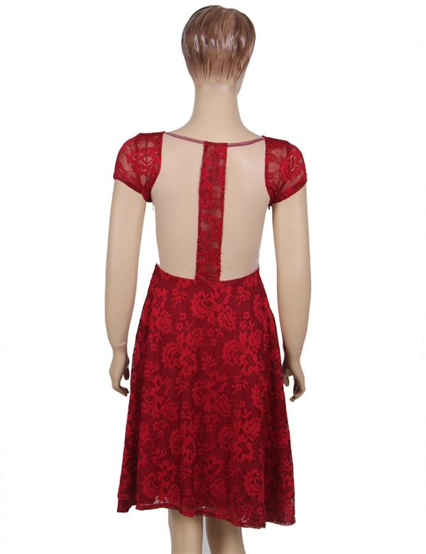 CELLY Plus Size Lace Elegant Round Neck Red Bodycon (CSOH V1048-2P)
