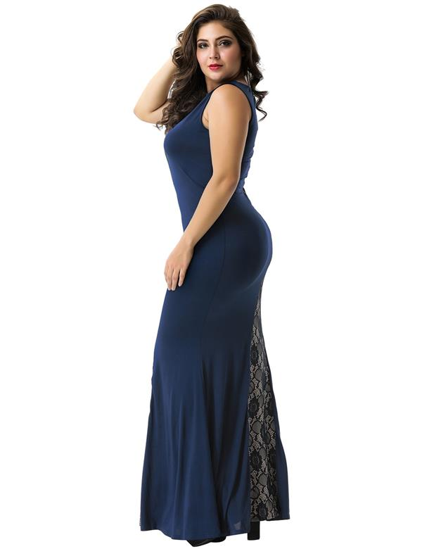 CELLY Plus Size Lace Panel Ruffle Dark Blue Maxi Dress (CSOH R80054P)