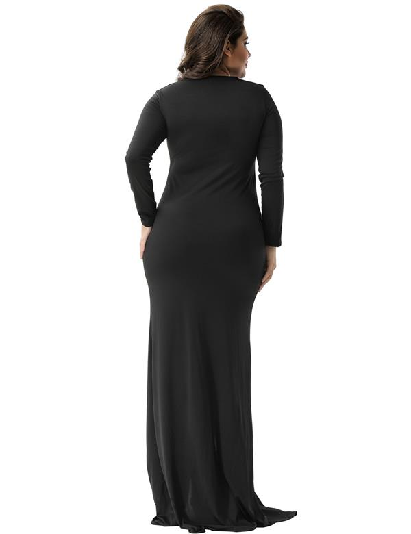 CELLY Plus Size Sexy Black Lace Trim party gown (CSOH V1012P)