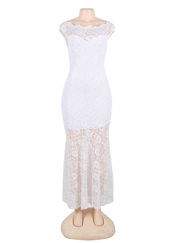 CELLY Plus Size White Lace Elegant Party Gown (CSOH V1073-2P)