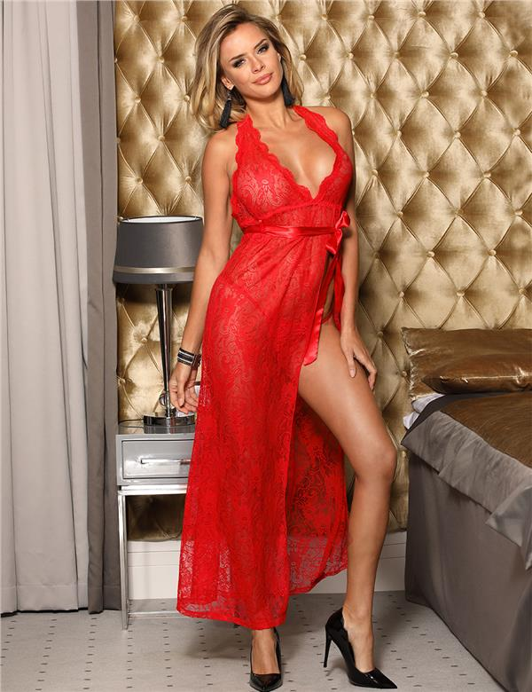 CELLY Red Backless Halter Long Dress (CSOH R80337)