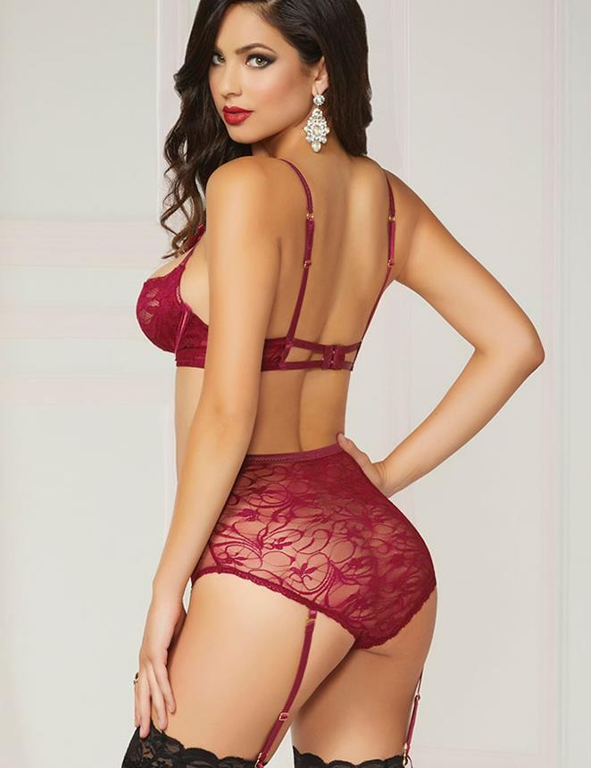 CELLY Red Lace Open Bust Bra And Garter Panty Set With Steel Ring