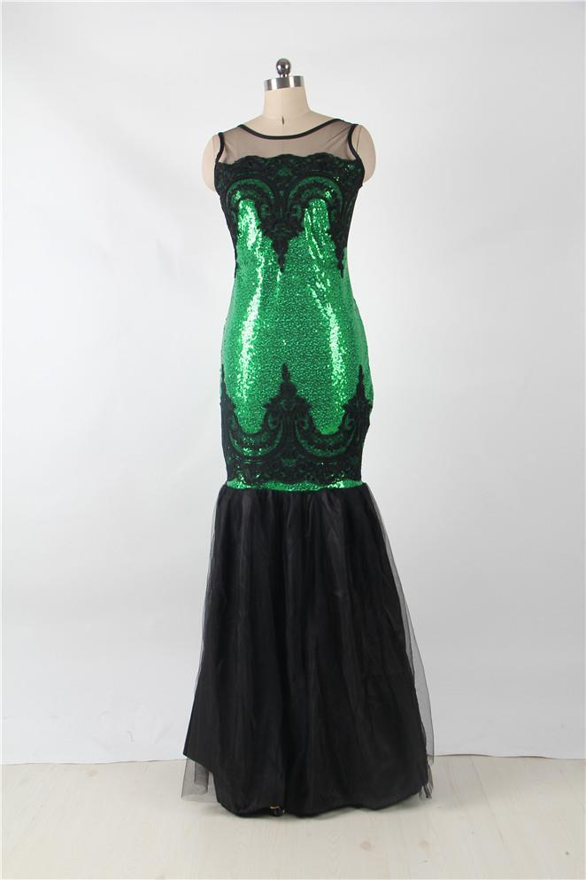CELLY Sequins Appliqués Evening Dress with Mermaid Hem(CSOH R80196-4P)