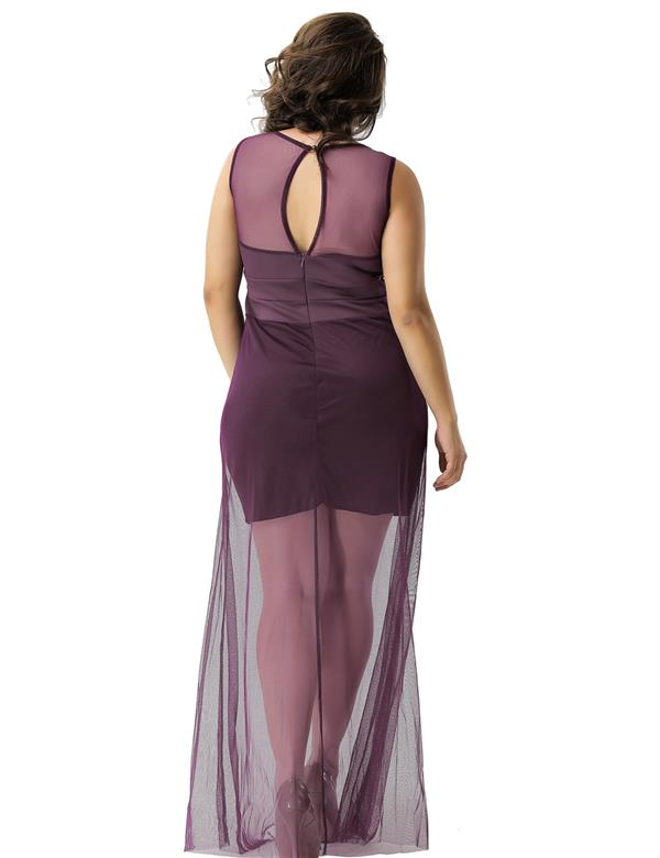 CELLY Short Dress Sleeveless with Floor Length Sheer (CSOH R70235-2P)