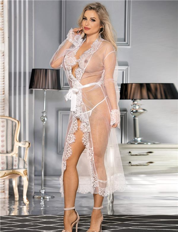 CELLY White Delicate Lace Gown Long Sleepwear (CSOH R80507-2)
