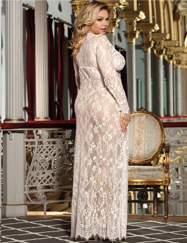 21cc440d399f CELLY White Delicate Lace Long Sleepwear Gown (CSOH R80497-2P)