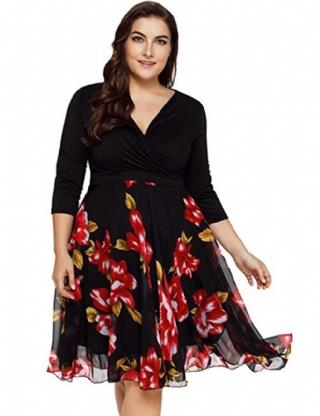 CELLY (XL-5XL) Plus Size Elegant Knee-length Floral Dress (CSOH R80701