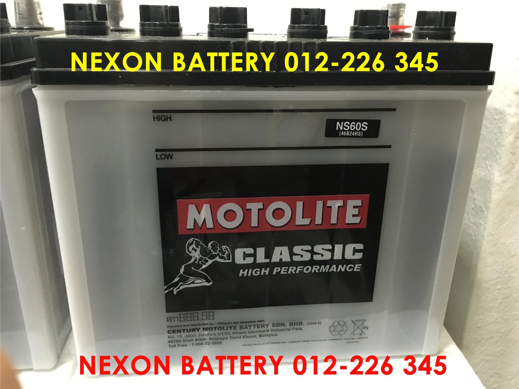 CENTURY MOTOLITE NS60L WET CAR BATTERY