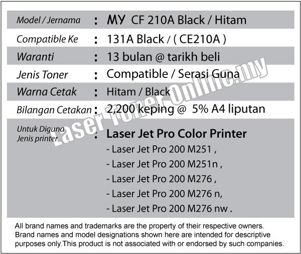 CF211A/CF 211A/131A Black/Hitam Compatible-HP Pro 200 Color M 251 276