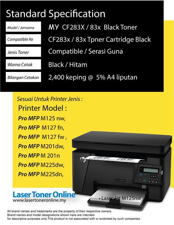 CF283x 83x 283x Compatible HP LaserJet Pro MFP M125 M127 M127fn M201n