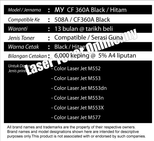 CF360A CF 360 508 Compatible HP LaserJet M 552 553 557 576 Color Black