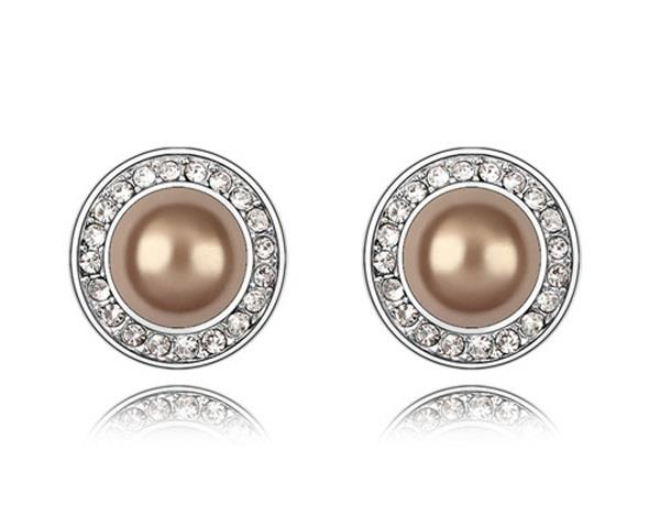 Champagne Pearl Swarovski Crystal Round Stud in White Gold