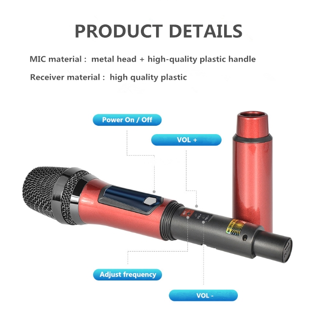 Chargeable Handheld Uhf WIRELESS Microphone ,microphone System - [RED]
