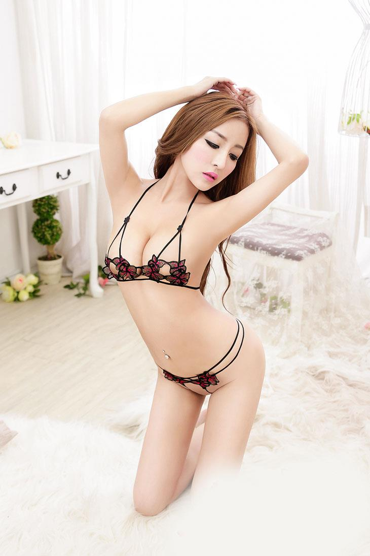 Charming Embroid Bra Set 2pcs (Black)