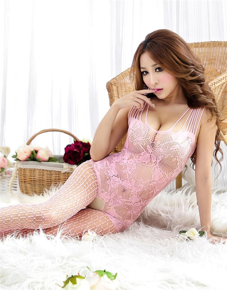 Charming Jacquard Mesh One-Pcs Fishnet Stocking (Pink)