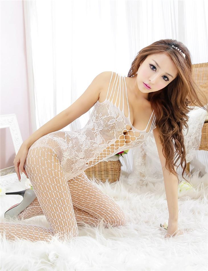 Charming Jacquard Mesh One-Pcs Fishnet Stocking (White)