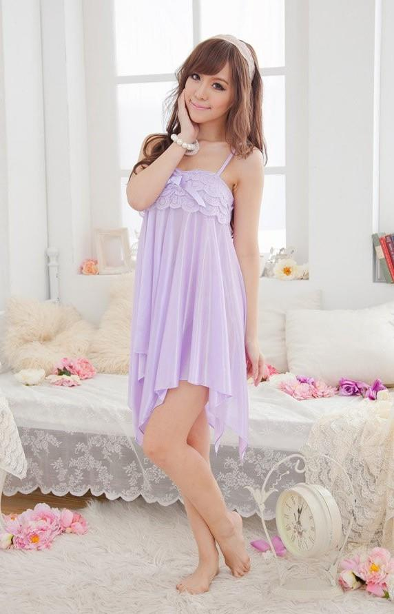 Charming Ribbon Ice Silk Sexy Lingrie (Light Purple)