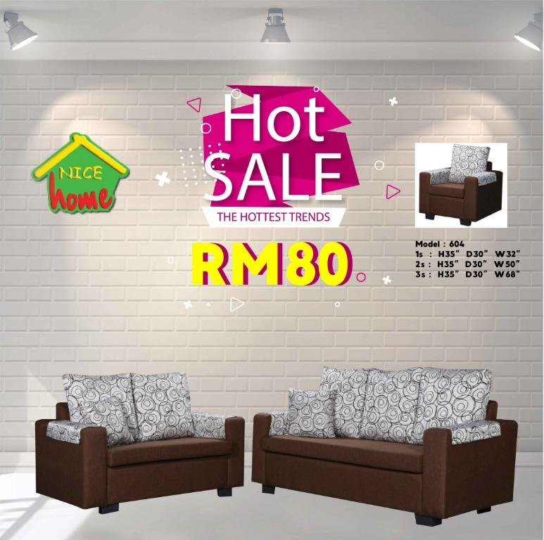 Cheapest Installment plan sofa set 1+2+3-RM80