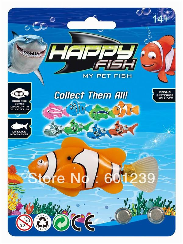 Cheapest! Mutlicolor/Clownfish Robo Happy Fish - Water Activated!