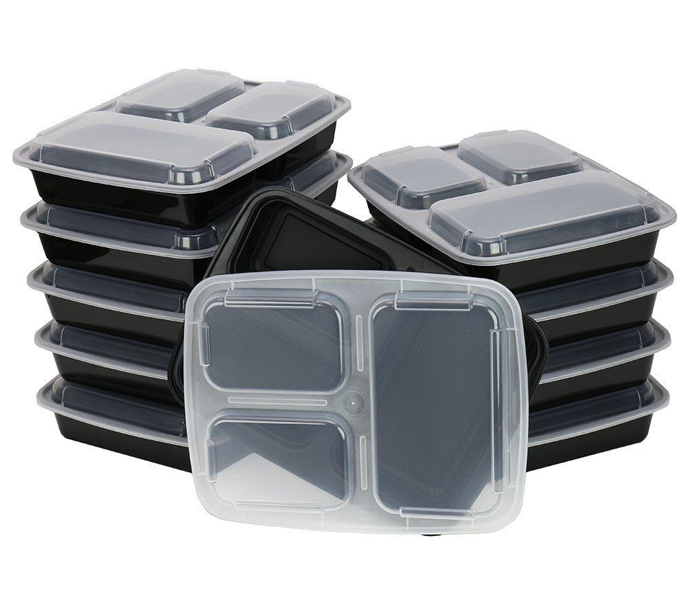 Chefland 3 Compartment Microwave Safe Food Container Lunch Box 10 Pack