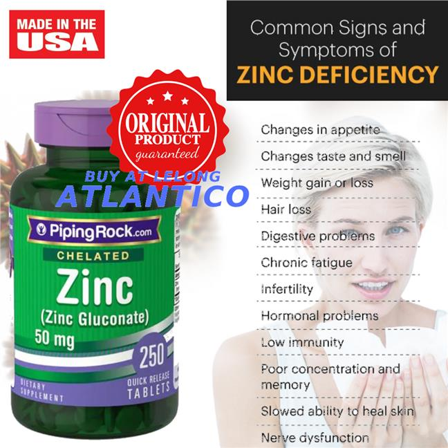 Chelated Zinc (Gluconate), 50mg, 250 Tablets (Vitamin Mineral)