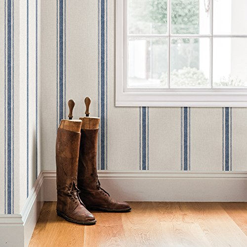 Chesapeake 3115-12462 Linette Blue Fabric Stripe Wallpaper