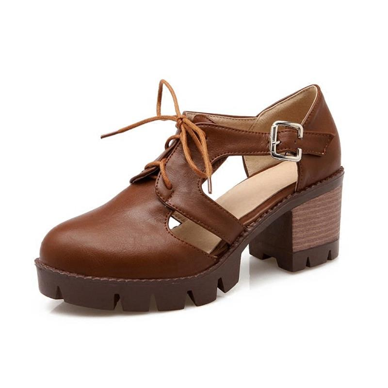 Chic Open Shank Oxford Block Heels Casual Women's Footwear