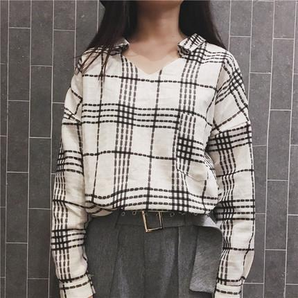 Chic Plaid Pattern V-Neck Blouse