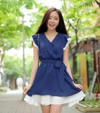 Chiffon Dress with Belt - B1656B