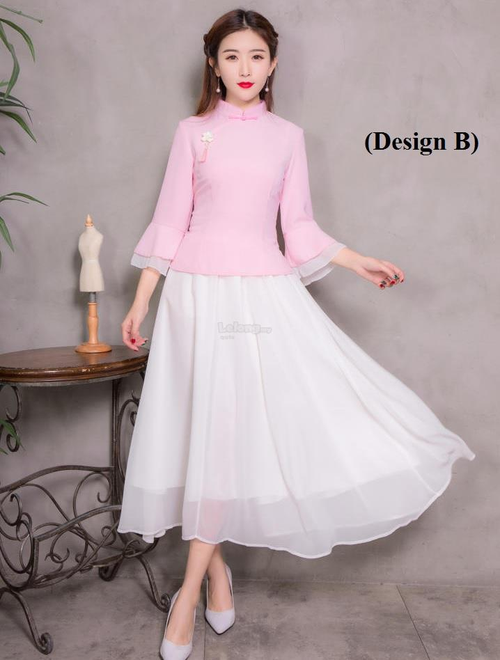Chiffon Top-Bottom Cheongsam 2018 for women