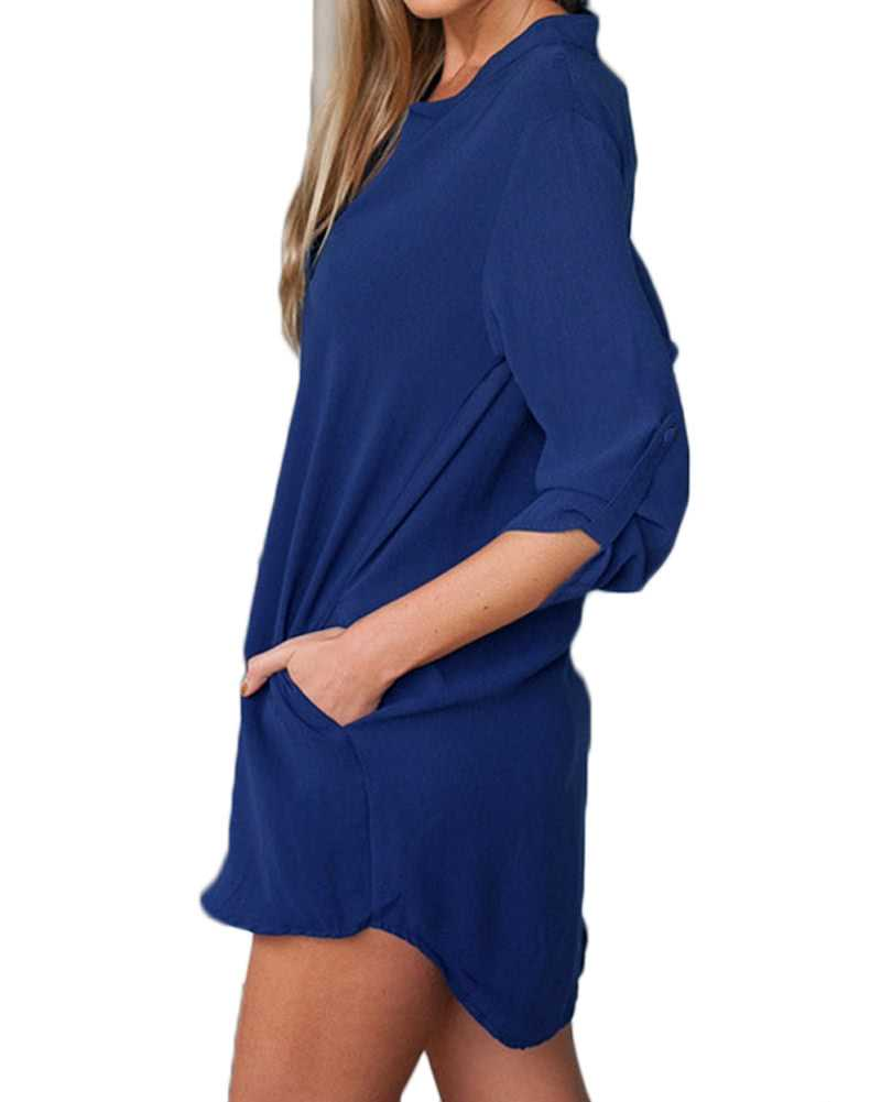 Chiffon V Neck Long Sleeves Shirt Dress (Dark Blue)