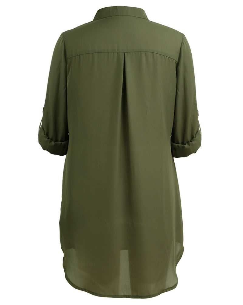 Chiffon V Neck Long Sleeves Shirt Dress (Darkgreen)