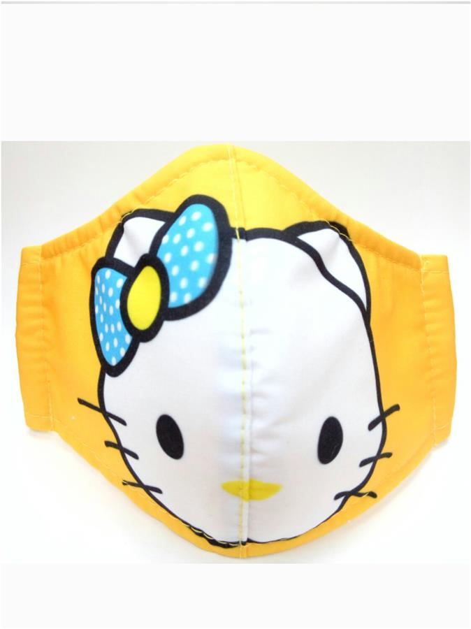 CHILD FACE MASK CLOTH 1 PIECE (REUSABLE) HELLO KITTY DESIGN YELLOW