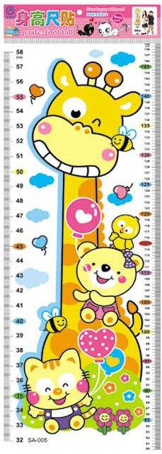 Children Cartoon Measure Growth Height Ruler Chart Home Wall Sticker