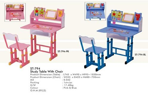 Children Study Table With Chair (ST 794 PK/BL)