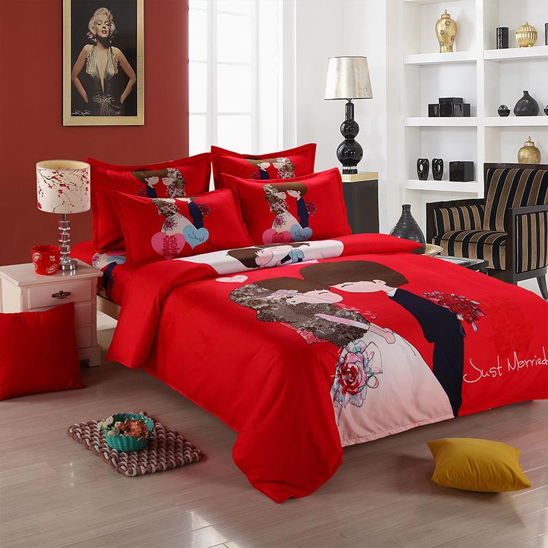 Chinese Wedding Red Cute Cartoon Fitted Bedsheet Bed Sheet Bedding Set. U2039 U203a