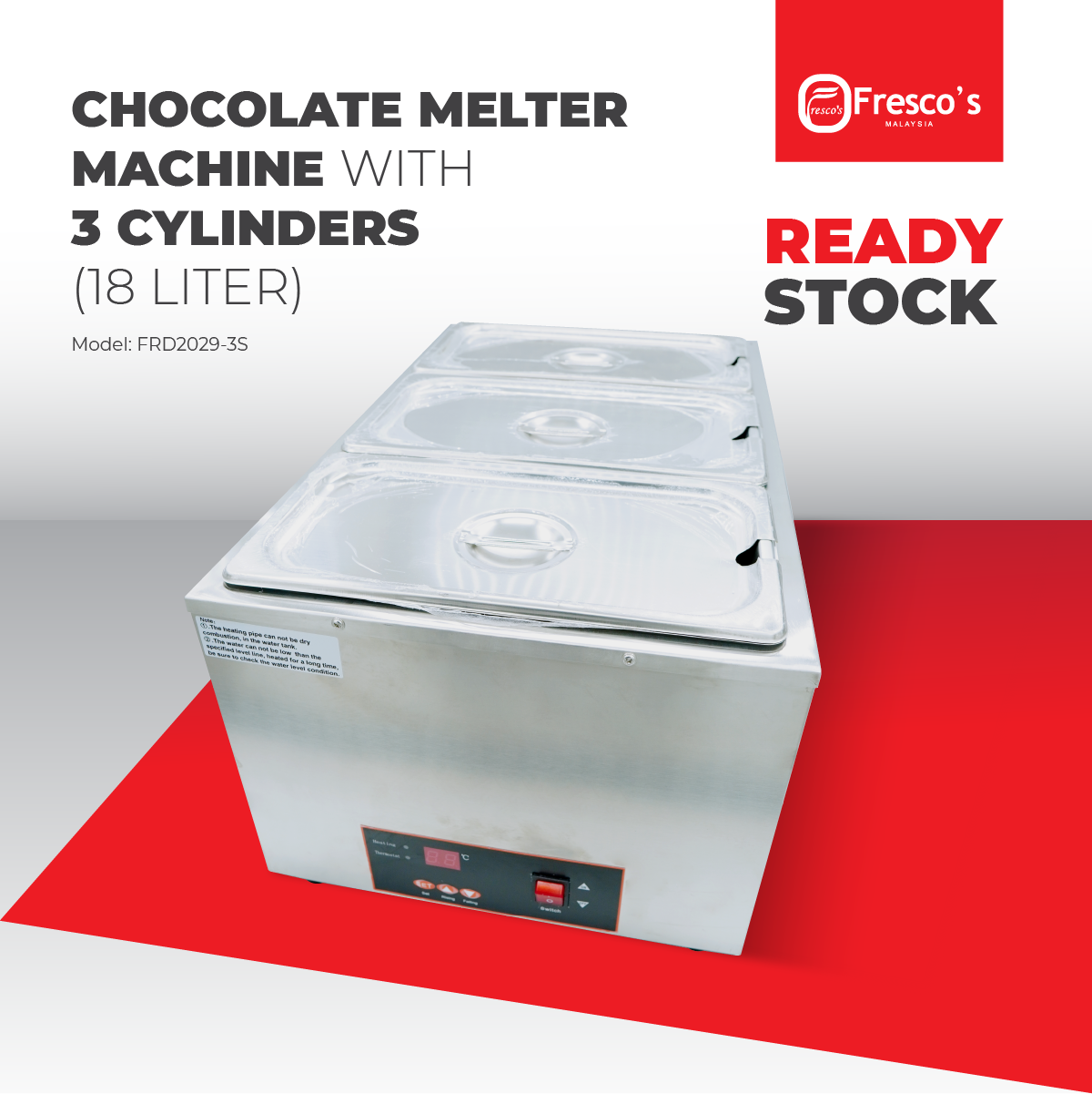 Chocolate Melter Machine With 3 Cylinders (18 Liter)