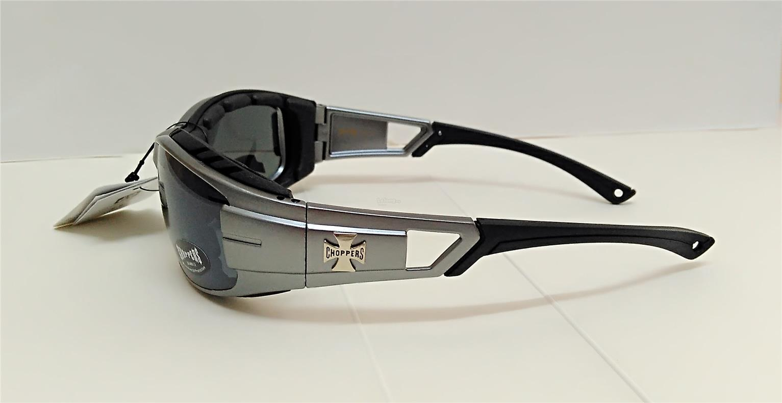 Choppers Padded Sunglasses Wind Dust Ray Protect Biker Dark Silver New
