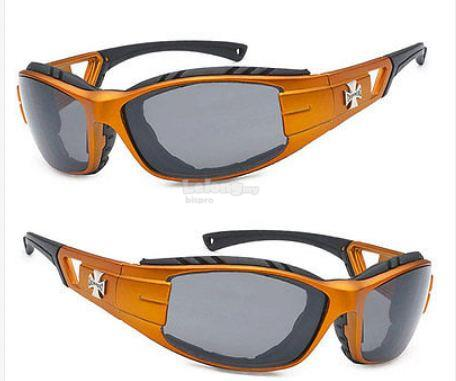 Choppers Padded Sunglasses Wind Dust Ray Protect Biker Orange New