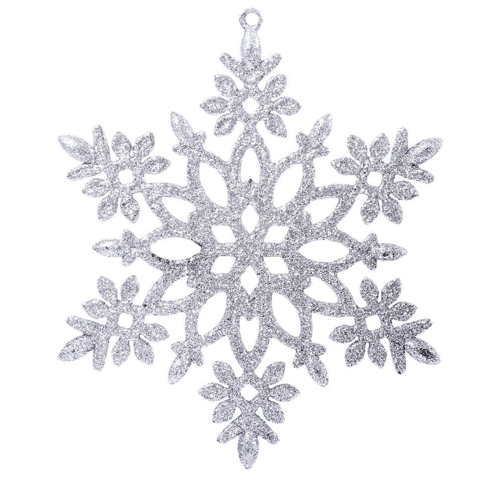 Christmas Snowflakes.Christmas Glitter Snowflake Hanging Decorating Ornaments Silver