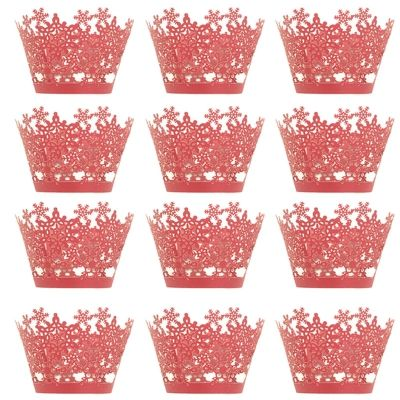 Christmas Snowflake Cake Cup for DIY Baking 12pcs (GOLD)