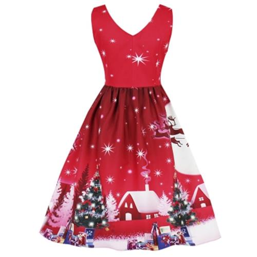 CHRISTMAS TREE MOON SNOWMAN PLUS SIZE DRESS (RED)