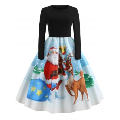 7357d2032e000 Christmas Vintage Santa Claus Elk Print Dress (BLACK)