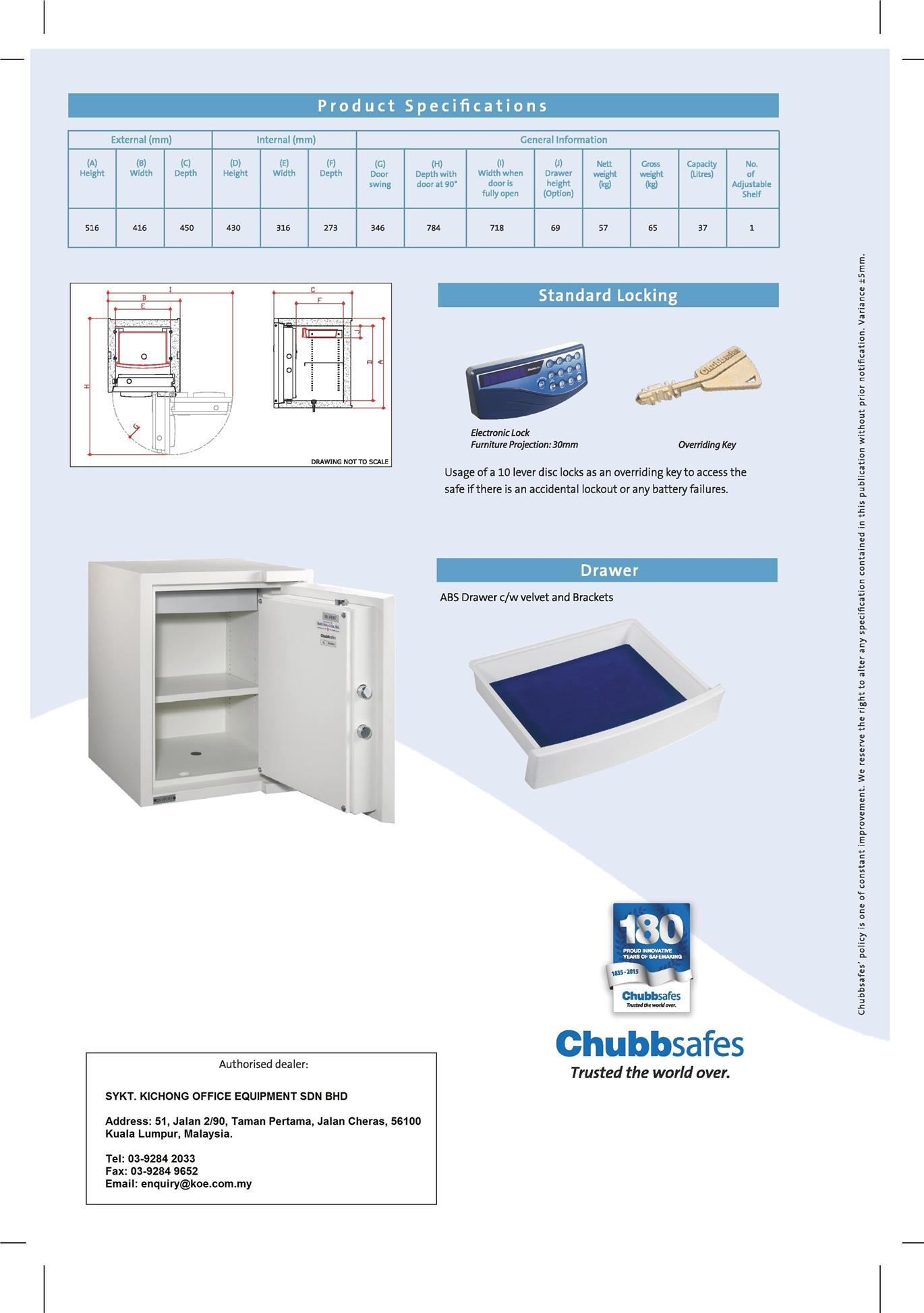 Chubbsafes Electronic Home Safe (57kg)