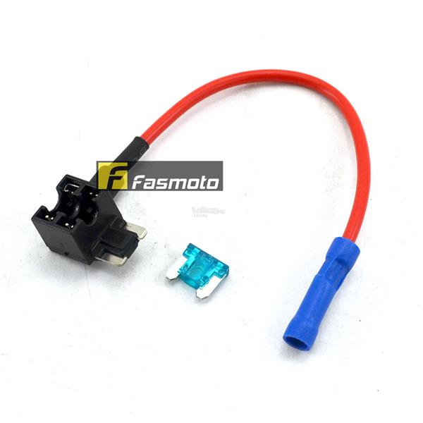 Circuit Fuse Tap Low-Profile Mini Blade Fuse Holder with 15A Fuse