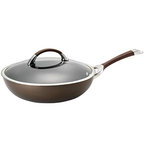 Circulon Symmetry Hard Anodized Nonstick Wok/Stir Fry Pan with Lid, 12 Inch, C