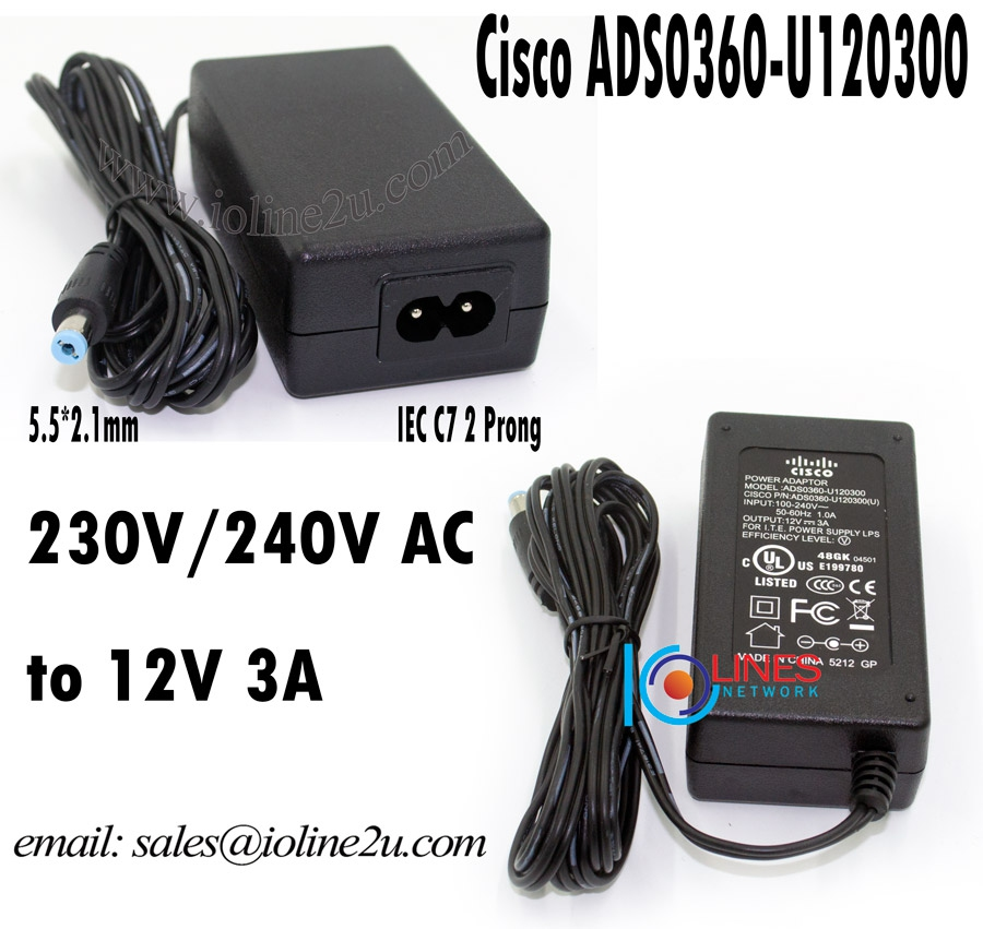 Cisco ADS0360-U120300 AC 230V to 12V DC 3A 36w Switching Power supply adapter