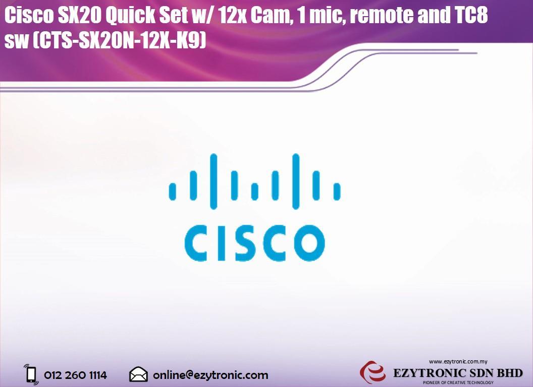 Cisco SX20 Quick Set w/ 12x Cam, 1 mic, remote and TC8 sw