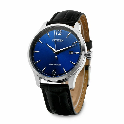 CITIZEN Blue Dial Calf Leather Mechanical NJ0110-18L Men's Watch