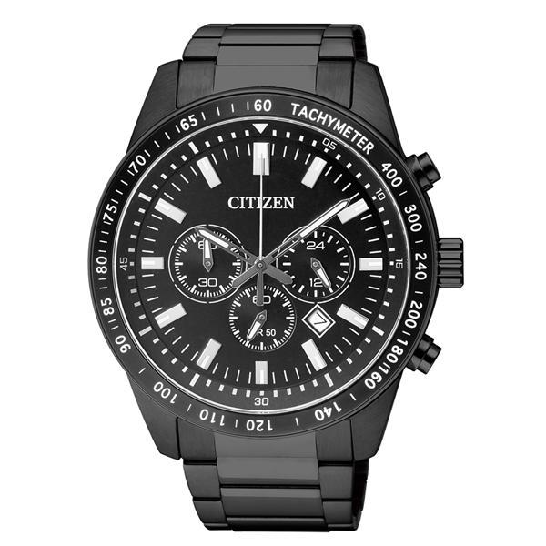 Citizen Chrono Black Stainless Steel An8075 50e An8075 50 Mens Watch